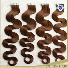 30 Inch body wave 40pcs 2.5g/pces Grade AAA russian hair tape hair extensions 100g brown color