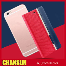 wholesale double colour Denim flip cover case for iphone 6s pu leather case for iphone 6 plus fancy cell phone cases