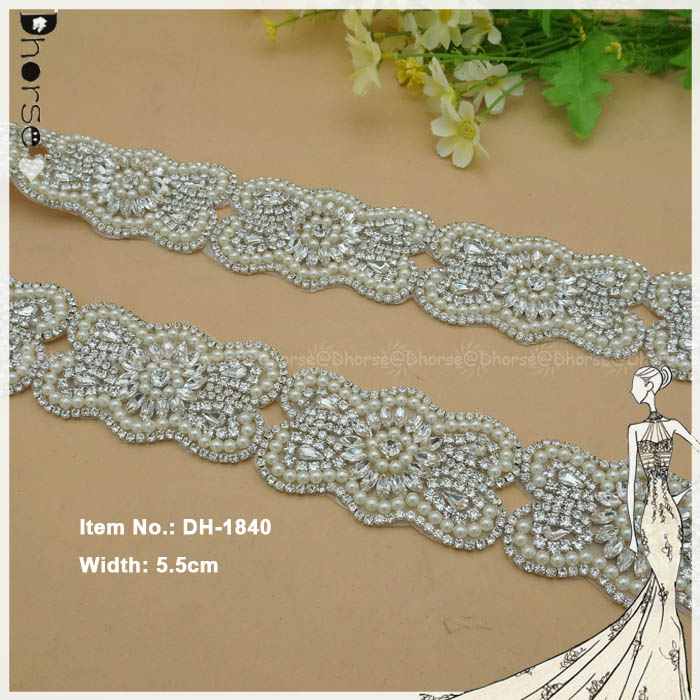 Wholesale price crystal rhinestone pearl beaded trim for wedding dress