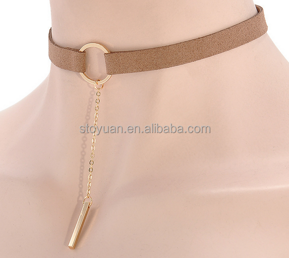 Stoyuan Wholesale Fashion Collier Neck Choker With Circle Pendant Velvet Collar Jewelry Accessories