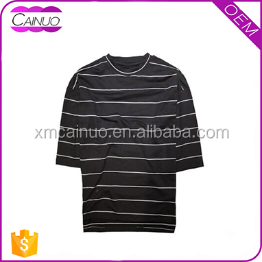 OEM Custom O-Neck Short Sleeve Fashion Black and White Stripe T-shirt