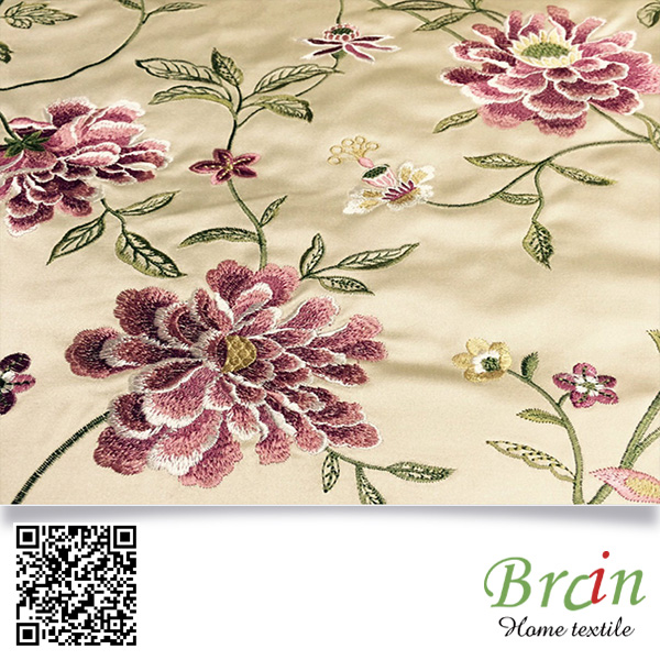 Latest Flower Design Cotton Silk Sofa Fabric Material Embroidery Design