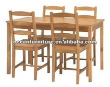solid pine dinning set 3 belt brown color 1 table and 4 chairs