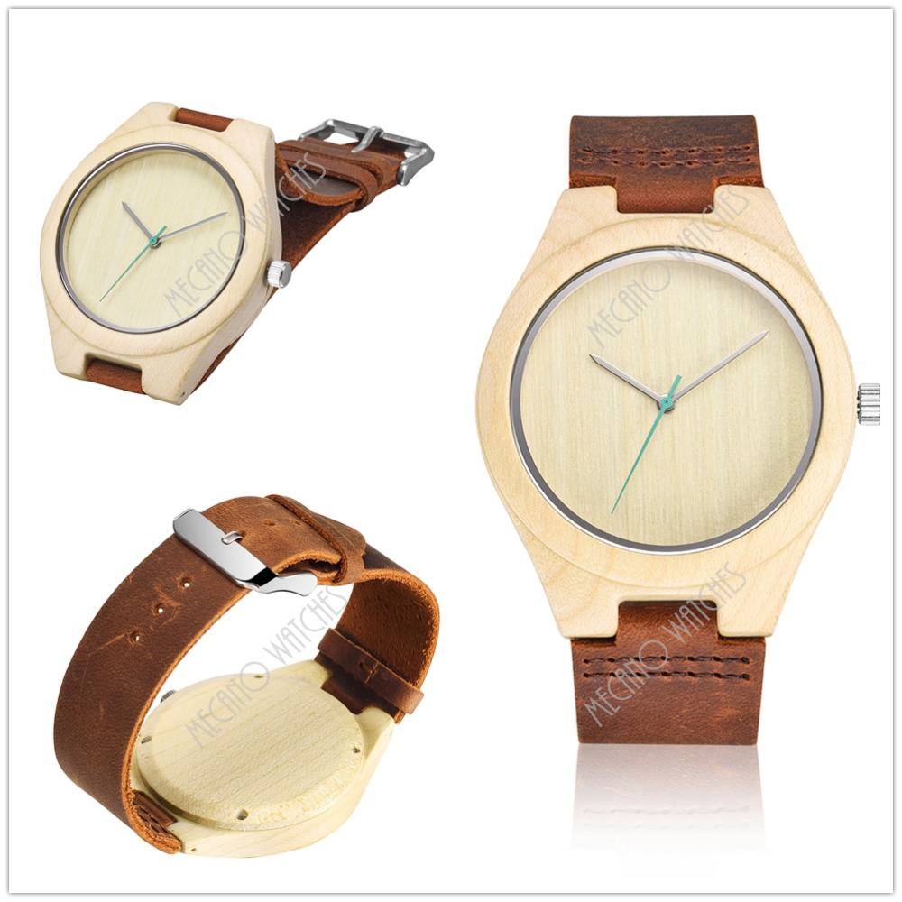 Wood and Steel Men Watch Luxury Sandalwood Watch With Box Hot Sale Bamboo Watch