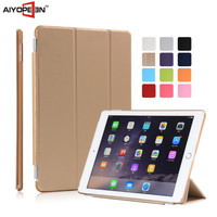 Hot sales Good qulity Slim PU Leather for apple ipad 6 many 3 folded smart case