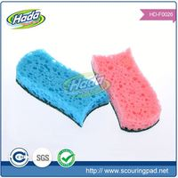 Square non scratch kichen cleaning cloth with sponge scourer