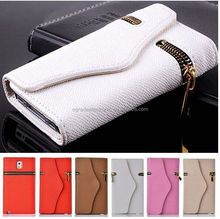 Wholesale Foreign Business Wallet Leather Case with Card Slot Zipper Wallet Leather Case for Samsung S5 I9600
