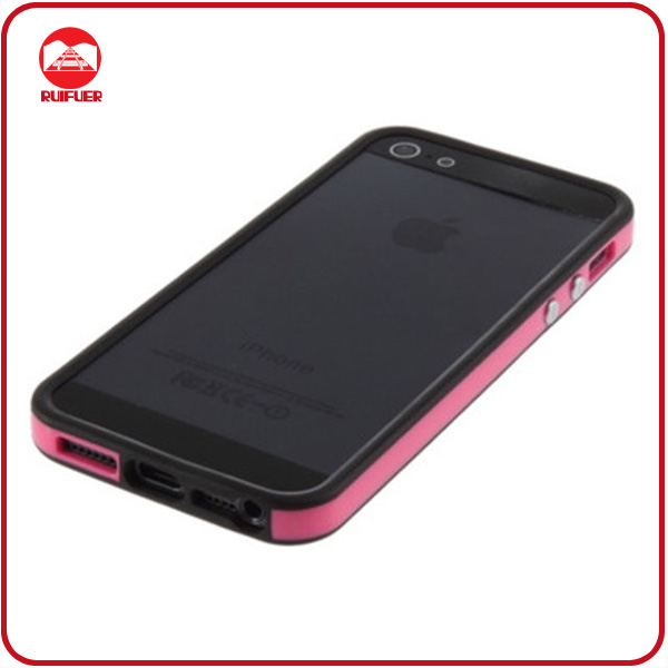 Hot Selling Fashion Slim Fit Plastic Silicone Bumpers Case for Iphone5 With Metal Button