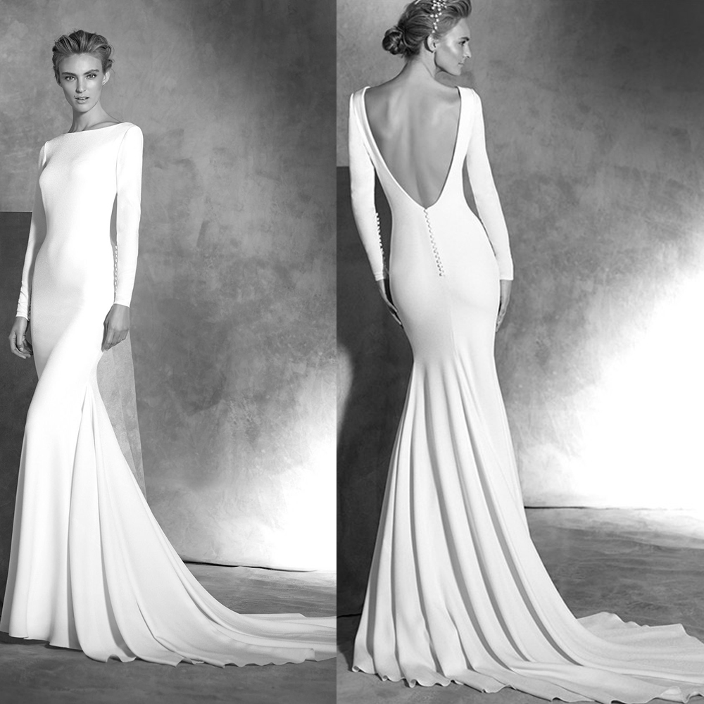 2014 Exotic Berta Elegant Court Train Open Back Long Sleeve Mermaid Wedding Dress 2014 Bridal Gown vestido de noiva
