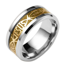 Religious winds Christianity Jesus hot sell ring gold jesus stainless steel ring