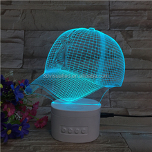 Baseball cap shape Bluetooth speaker 3d acrylic led night light with for sleeping light