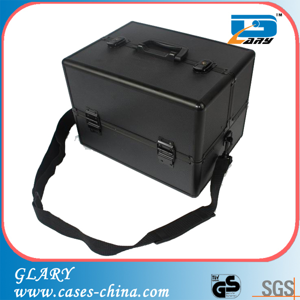 Aluminum black professional makeup case for wholesales