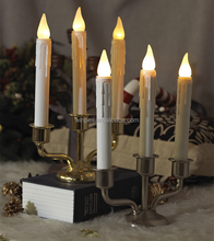 Battery-operated Flameless Trio Drip Taper LED Window Candle With Brass Metal Candlestick
