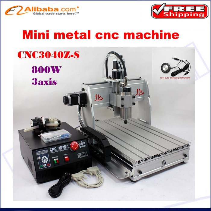 Free shipping! mini lathe machine CNC Router 3040 Z-S engraving machine 800W VFD water cooled spindle, metal cutting machine