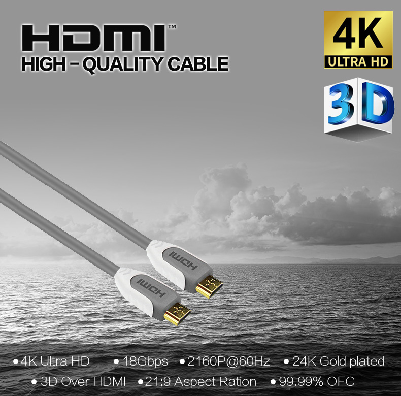 Hot Product Ultra High Speed 18Gbps HDMI Cable 4K@60Hz Support HDTV, Ethernet, Audio Return, Video UHD 2160p