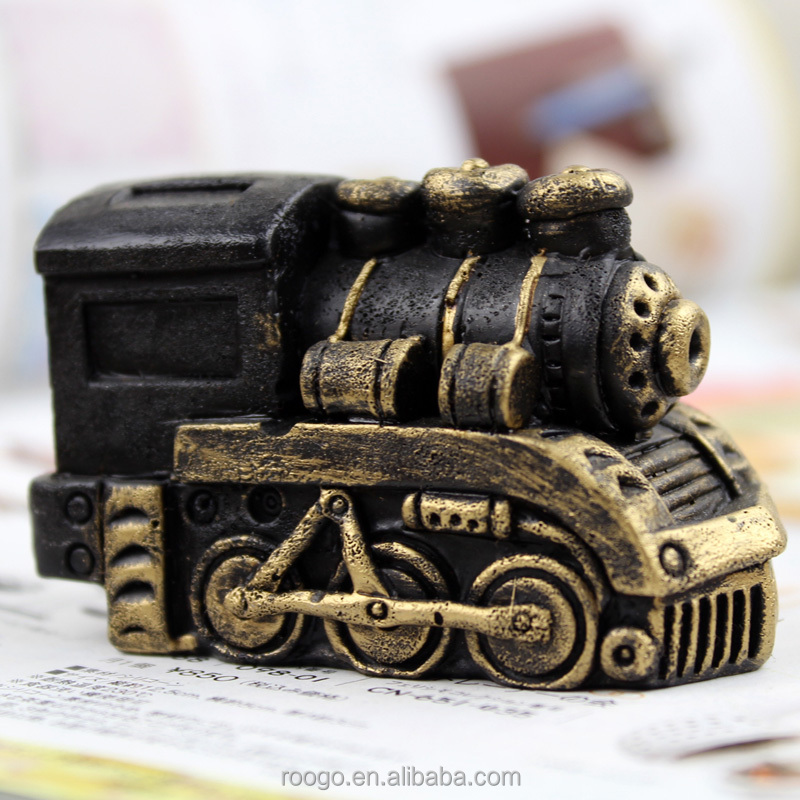 ROOGO new product resin vintage train antique home decorations items