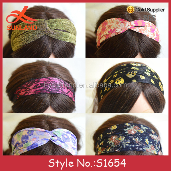 S1654 newest design bohemian shivering elastic lace flower girls headbands for women accessories wholesale