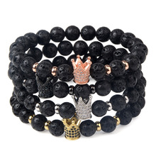 Natural Lava Stone Crown Charm Bracelet for Men and Women Jewelry Gift