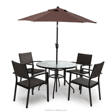 Aluminum rattan chair with glass table