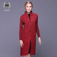 fashionable women red new coat design ladies pleated long coat custom clothing manufacturers