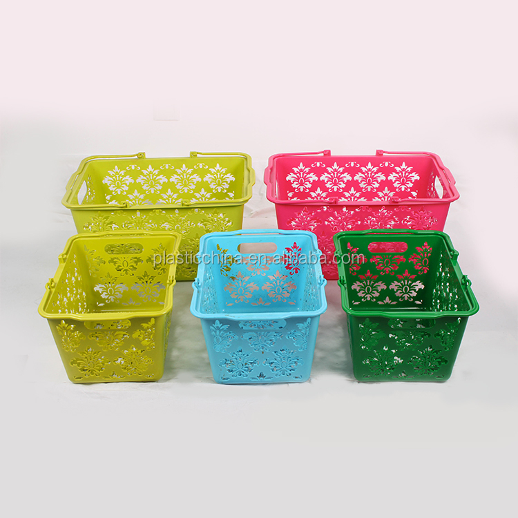 Storage Boxes & Bins Type and Plastic Material handle plastic basket