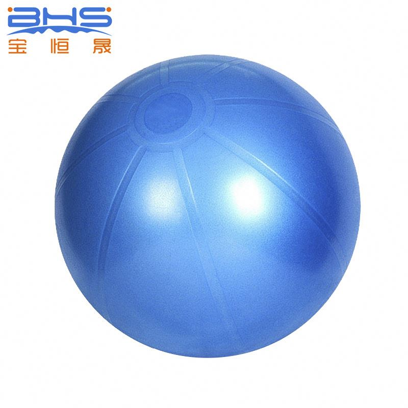 55cm handle fitness ball with pump, orange pvc exercise ball wholesale