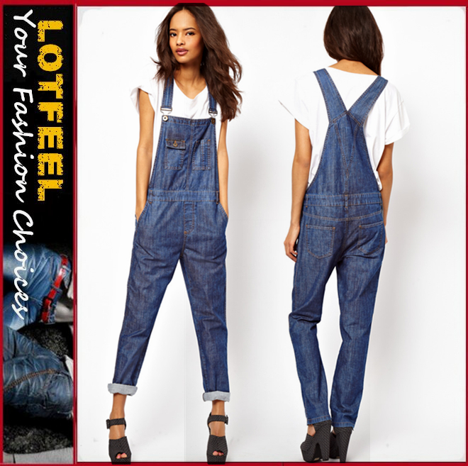 Women Denim Overalls in Dark Wash (LOTX266)