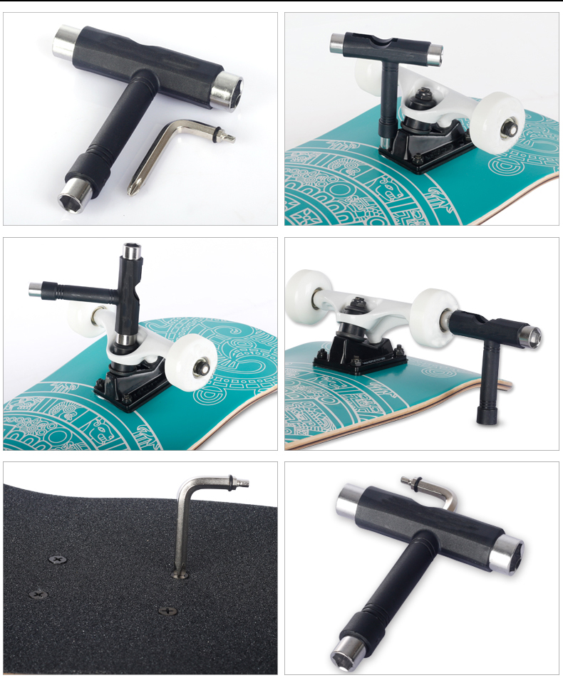 Wholesale T tools skateboard tools skate board multi color OEM logo cheap price