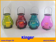Glass Hanging Tealight Holder Multi Color Candle Lantern with LED candle