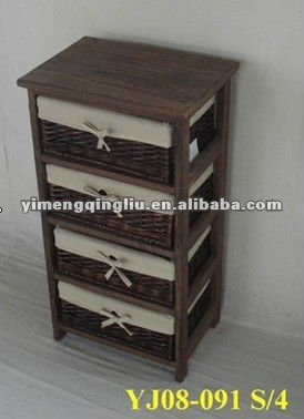 Meubles en bois avec panier de rangement en osier for Meuble de rangement en osier