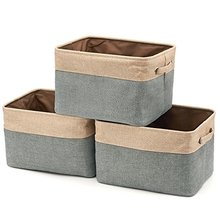 Foldable Canvas Fabric Tweed Storage Cube Bin Basket Set With Handles In Brown For Home Office Closet