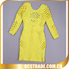 2014 women bandage long sleeves cheap yellow cocktail dresses