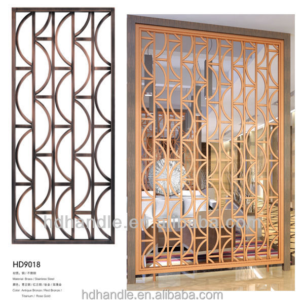 Decorative Screen Partition, Room Divider Metal with Straw Partition