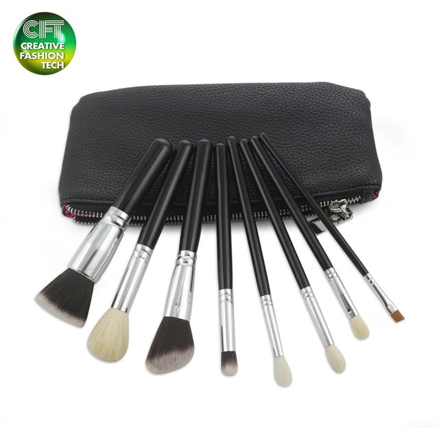 Private label 8pcs goat hair professional makeup brush set