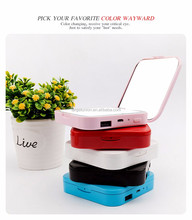 Led Lighted Compact Travel Makeup Mirror Magnifying Mirror With Rechargeable Battery Power Bank With USB Cable