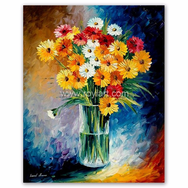 Daisy Modern Flower Canvas Oil Painting by Heavy Knife