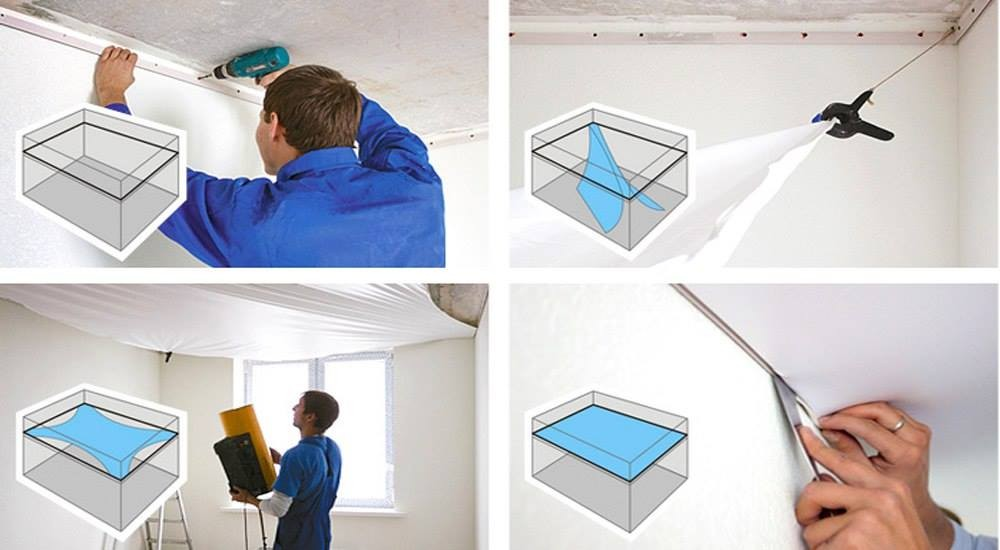 Blue pvc stretch ceiling film high demand products