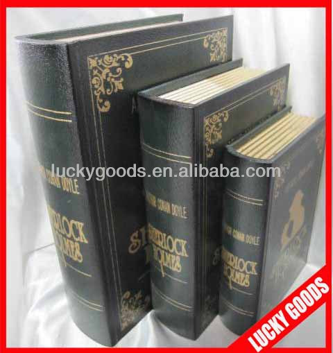 fake book shaed hollow antique wooden book boxes