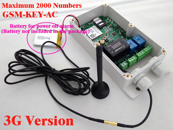3G Version GSM-KEY-AC2000 Good designed 3G and GSM gate opener two relay output two alarm input for Australia,USA,Singapore