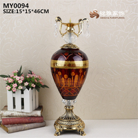 Large glass crafts wedding decoration pieces antique style decorative glass with pattern