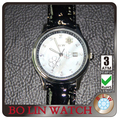 white casejapan movt quartz watch stainless steel back Black leather strap band ladies wristwatch