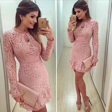 Women Sexy Elegant High Quality round collar Dress Long Sleeve Lace Dress Elegant Ladies Casual Hollow Out Autumn dress