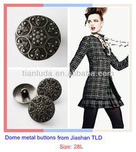 Jiashan TLD half ball embossed metal button