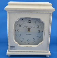 antique white square wooden table clock
