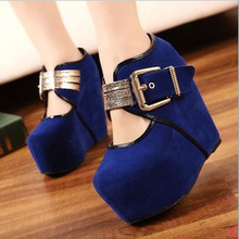 New trend fashion platform women shoes with buckle evening bridal pump wedge shoes