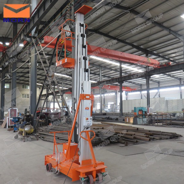 8m single mast light weight electric hydraulic aluminum mast vertical man lift