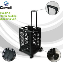 Plastic Collapsible Shopping Cart Portable Folding Plastic Rolling Hand Cart rolling plastic pull cart