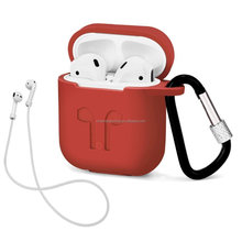 New Arrival Top Sale on Amazon AirPods Case with Strap Protective Silicone Cover with Carabiner for Apple Airpods Accessories