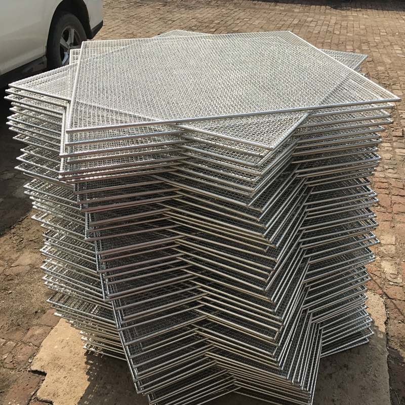 food grade stainless steel crimped barbecue wire mesh tray for food processing