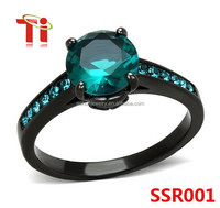 Blue Zircon AAA CZ Black Stainless Steel Engagement Ring Women's SZ 5-10